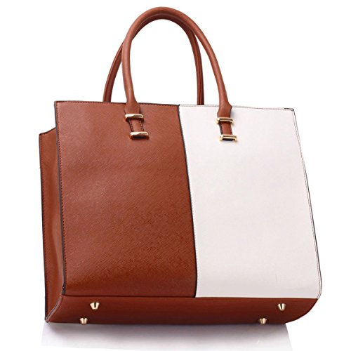Leather Handbag Shoulder Patent White Bag Tote Laptop Brown Large Ladies Designer Women Xardi London Faux gSq0aS