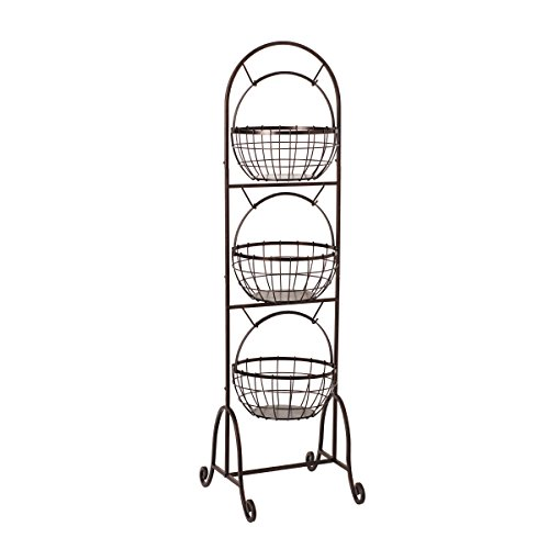 Gourmet Basics by Mikasa Homespun 3-Tier Wire Market Basket, 50-Inch, Antique Black by Gourmet Basics by Mikasa