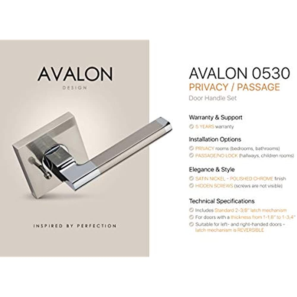 Contemporary Design Door Handle Lever Set Avalon 0530 Privacy // Passage