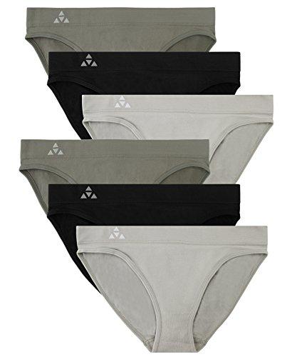 Balanced Tech Women's 6 Pack Seamless Low-Rise Bikini Panties - Grey/Charcoal/Black - Medium (Seamless Athletic Underwear Women)