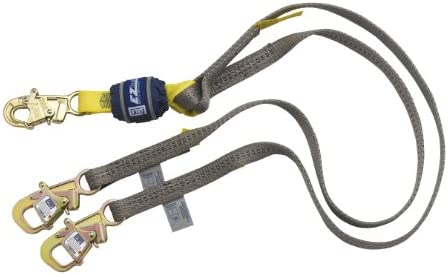 DBI/Sala EZ-Stop Wrapbax, 1246080 6' 100% Shock Absorbing Lanyard, Snap Hook At Center, Tie-Back Hooks At Leg Ends, Gray by 3M Fall Protection Business