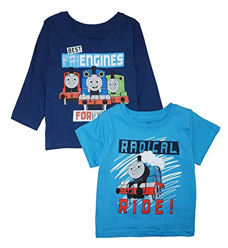 (Thomas & Friends Little Boys' Two-Pack Screen-Print Tops, Blue, 4T)