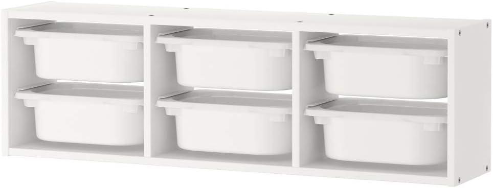 IKEA Organizador de Juguetes para la Pared de la habitación de los niños con Cubos de plástico para Juguetes (Blanco)