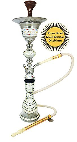 """KHALIL MAMOON SHARKAWI 34"""" COMPLETE HOOKAH SET WITH BUILT IN ICE CHAMBER: Single Hose shisha pipe. Handmade Egyptian Narguile Pipes. These are Traditional Middle Grade Metal Hookahs. by Khalil Mamoon"""