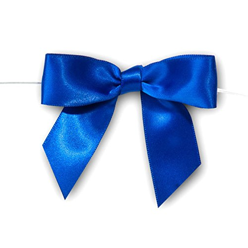 Pre-Tied Satin Bows, 7/8-Inch, 12-Piece (Royal Blue)