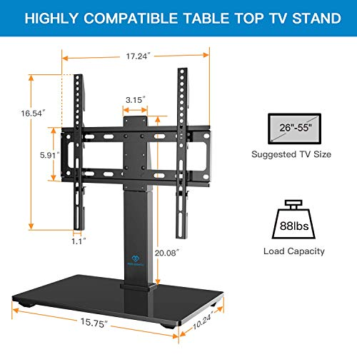 PERLESMITH Universal Swivel TV Stand - Table Top TV Stand for 26-55 Inch LCD LED TVs - Height Adjustable TV Mount Stand with Tempered Glass Base, VESA 400x400mm, Holds Up to 88lbs