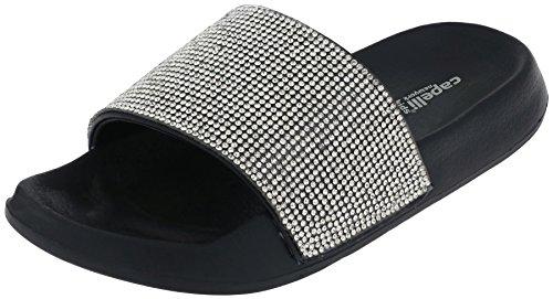 Capelli New York Girls Faux Leather Slides with Rhinestone Gem Trim Black 1/2 (Trim Rhinestone Slide)