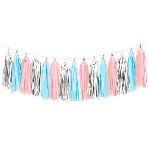 15Pcs 35Cm Colorful Tissue Paper Tassels Garland Wedding Decoration Hanging Banners Baby Shower for Kids Birthday Party Favors Pink Blue -
