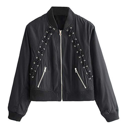 Black de Sólido de frontal larga Color cremallera Invierno ZFFde bolsillo Ojo collar de tamaño con manga S pie encaje chaqueta con pqwz55U