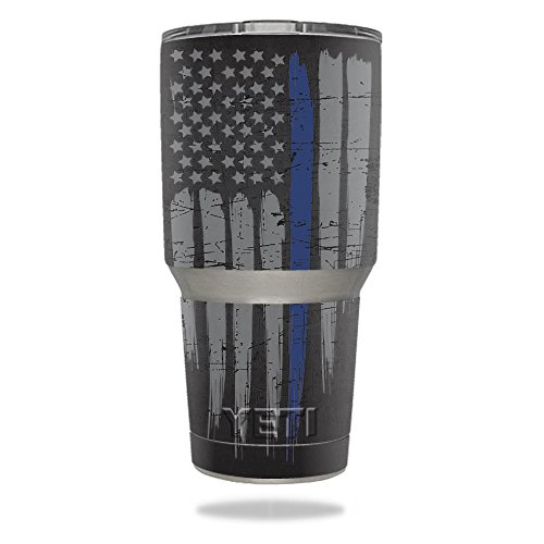 MightySkins Protective Vinyl Skin Decal for YETI 30 oz Rambler Tumbler wrap cover sticker skins Thin Blue Line from MightySkins