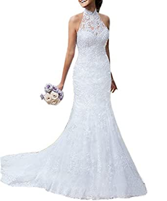 Ikerenwedding Women's High Neck Halter Sleeveless Lace Mermaid Wedding Dresses Bridal Gown US02