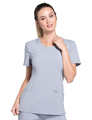 Cherokee Infinity by Women's Split Round Neck Solid Scrub Top Medium Grey (Set Cherokee)