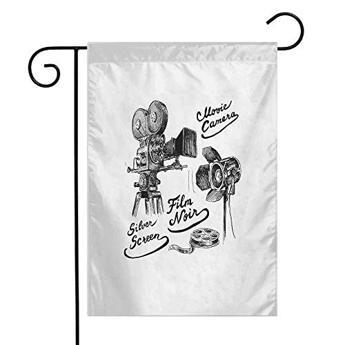 QIAOQIAOLO Polyester Garden Flag Movie Theater Cinematography Themed Artwork with Old Camera and Equipment Silver Screen Easy to Install Black White W12 xL18