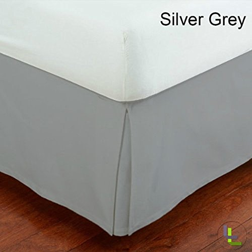 SRP Bedding Real 450 Thread Count Split Corner Bed Skirt / Dust Ruffle California King/ Cal King Size Solid Silver Grey 18