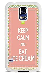 Keep Calm and Eat Ice Cream White Silicone Case for Samsung Galaxy S5