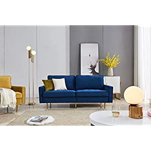 EiioX Mid-Century Modern Sofa with Pillows & Metal Legs, Velvet Fabric Bench Sectional Couch, Easy Assembly Chaise Lounge for Any Style of Living Room, Bedroom, Office etc, Blue