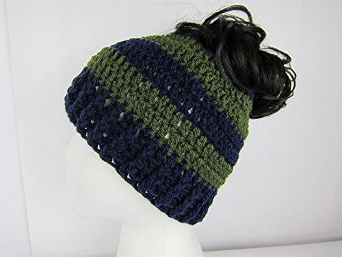 Messy Bun Hat, Navy Blue and Green Crochet Beanie, Pony Tail Hat, Runner's, cheerleaders, Womens teen Juniors Adult, Handmade