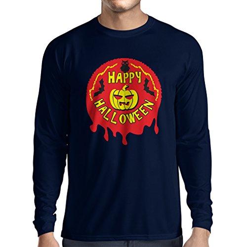 Long Sleeve t Shirt Men Happy Halloween! - Party Clothes - Pumpkins, Owls, Bats (Small Blue Multi Color) ()