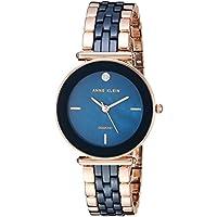 Anne Klein Women's Quartz Metal and Ceramic Dress Watch, Color:Blue