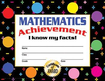 Hayes Mathematics Achievement Stick-to-It Award Certificate, 8-1/2 X 11 in ()