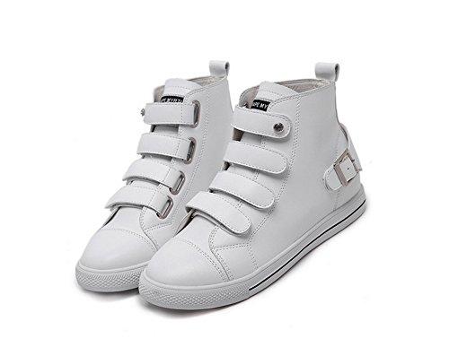 con planos de para cierre planos hebilla punta 1TO9 y redonda Zapatos cuero mujer de Iaqq6