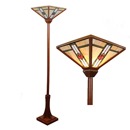 14 Inch Tiffany Torchiere Floor Lamp Mission-Style Authentic Stained Glass Table Lamp Shade With Wooden Base - Mission Torchiere Lamp