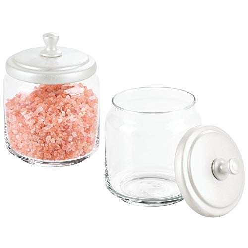 mDesign Glass Bathroom Vanity Storage Organizer Canisters Jars for Cotton Balls, Swabs, Makeup Sponges, Bath Salts, Hair Ties, Jewelry - 2 Pack - Clear/Pearl White