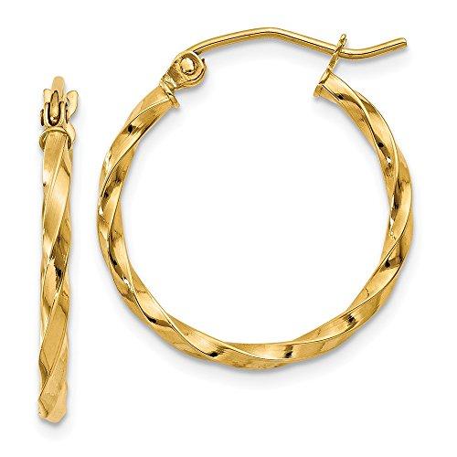 14k Gold Twist Polished Hoop Earring (0.59 in x 0.08 in)