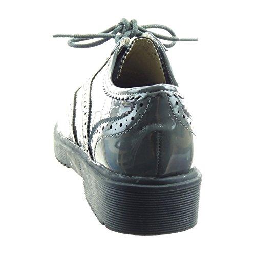Sopily - Scarpe da Moda Scarpe brogue alla caviglia donna perforato pelle di serpente verniciato Tacco a blocco 3.5 CM - Grigio