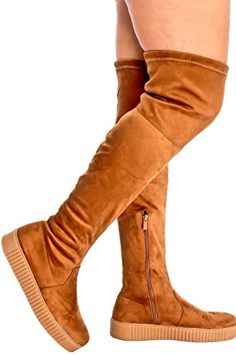Dnd Fashion Faux Suede Cremallera Diseño Hebilla Casual Bota Tan-regan-45
