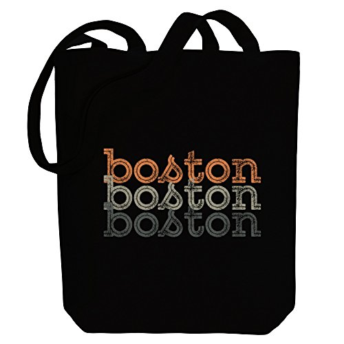 Idakoos - Boston repeat retro - US Cities - Canvas Tote (Boston Canvas Bag)