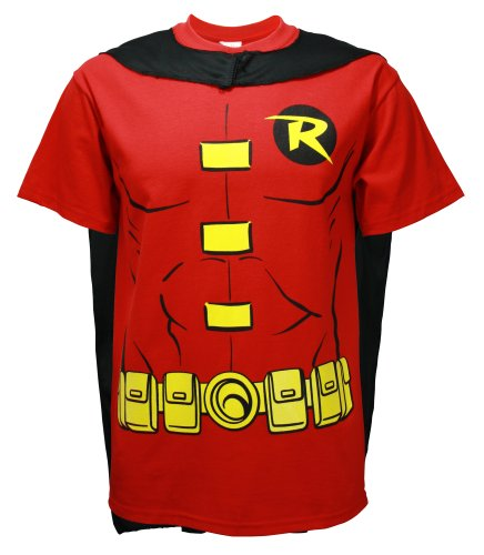 Heroes And Villains Costume (DC Comics Men's Robin T-Shirt With Cape And Mask, Red,)