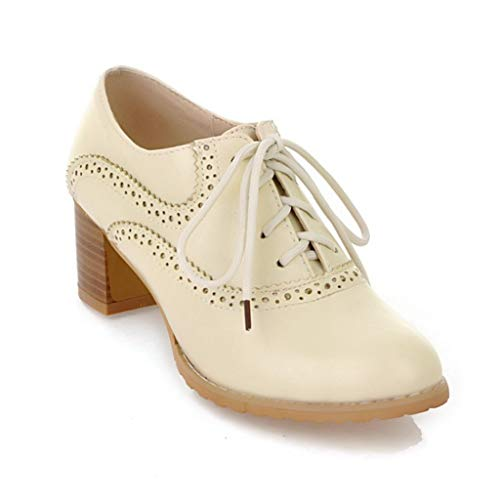 Womens Block Heel Oxfords Lace-up Pointd Toe Dress Pumps Loafers Vintage Handmade Platform Shoes Beige