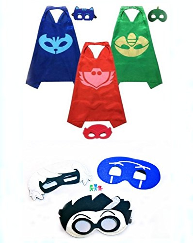 PJ Masks Halloween Party Costumes For Kids Set of 3 Catboy Owlette Gekko Costumes - 3 Satin Capes and 6 Felt Masks