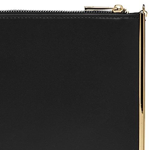 CASPAR TA406 Bolso de Mano Fiesta Plano para Mujer con Decoración Metálica Elegante y Cremallera Negro
