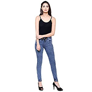 DAMEN MODE Women Blue Washed Denim Stretchable Modern Jeggings/Joggers