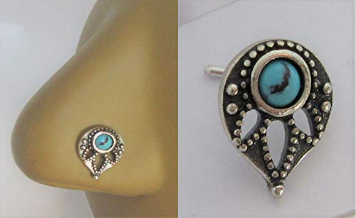 Sterling Silver Turquoise Tear Feather Nose Bent L Shape Stud Pin Post 20 Gauge ()