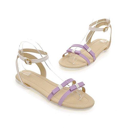 Aalardom Mujeres Hebilla De Tacón Bajo Pu Sandalias Sólidas Purple-ss