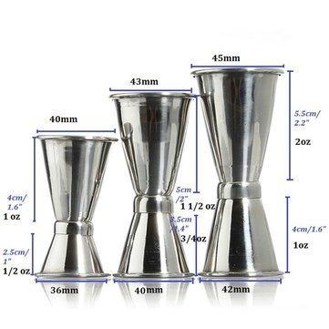 JERN Stainless Steel Bar Jigger Drink Cocktail Liquor Bartender Measuring Double Shot (S)