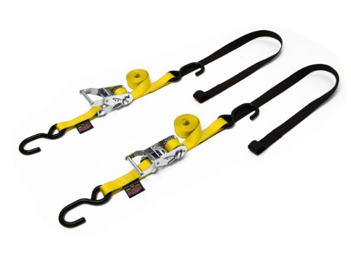 "1"" x 7ft Ratchet Soft-Tye Tie-Downs, Yellow (pair)"