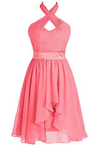 Topdress Women's Halter Party Dress Chiffon Bridesmaid Dresses Cocktail Length Coral US 24Plus
