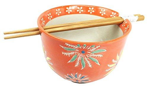 Japanese Design Orange Flower Blossoms Ceramic Ramen Udong Noodle Soup Bowl and Chopsticks Set Great Gift For College Students Housewarming Ramen Lovers Asian Living Home Decor