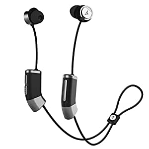 Zipbuds 26 Bluetooth Wireless Custom Fit In-Ear Headphones: HD Stereo Sound Waterproof Sweatproof 15-Hour Supercharged Battery (Black & Space Gray)