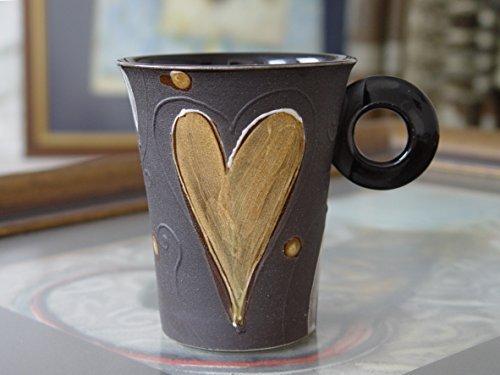 Elegant Handmade Stoneware Mug, Unique Artistic Pottery, Teacup, Valentine's Day Mug, Love (Elegant 10 Ounce Ceramic)