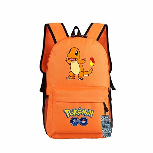 ZFX 600D Oxford Anime Pocket Monsters Special Pokémon Pikachu Gengar Students Backpacks Shoulder Bags Schoolbag Orange Charmander