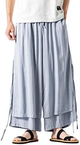 男性の のファッションコットンとリネンの快適なズボンレトロパンツ