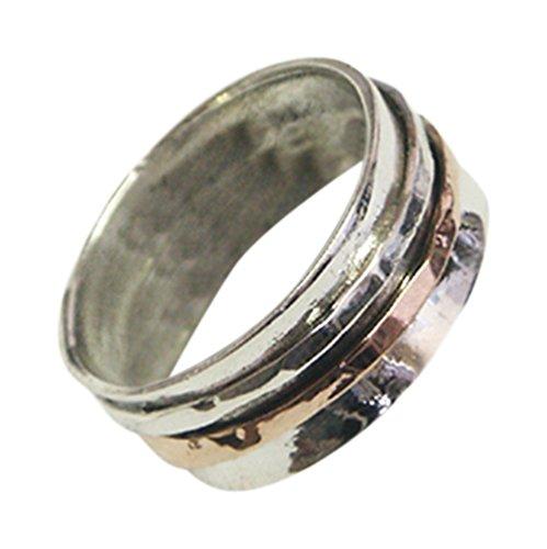 9k Rose Gold & 925 Sterling Silver Wedding Anniversary Ring Handmade Spinning Band - Nickel Free