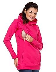 Zeta Ville - Womens Maternity Nursing Hooded Sweatshirt - Zip Cut-outs - 053c