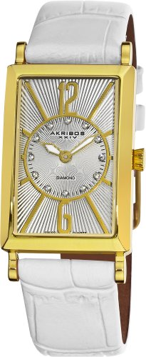 Akribos XXIV Women's AK543WT Essential Rectangular Stainless Steel Diamond Strap Watch