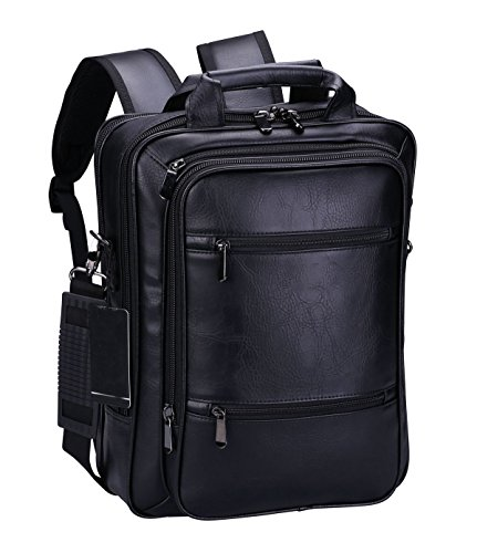 VIDENG Pro Laptop Leather Backpack Multi-Purpose Rucksack Briefcase Messenger Shoulder Bag Fits Up to 17inch for College School Students Business (S6-Black) ()